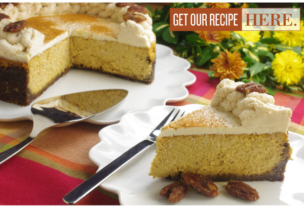 RECIPE: Pumpkin Cheesecake with Gingersnap Crust and Pecan Praline Topping