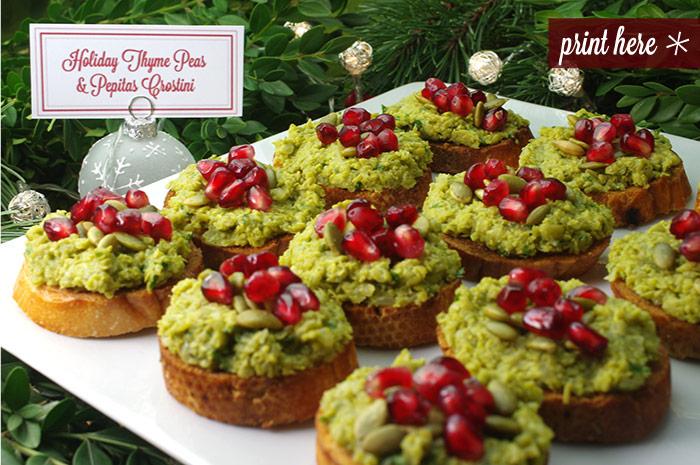 Holiday Thyme Peas & Pepitas Crostini