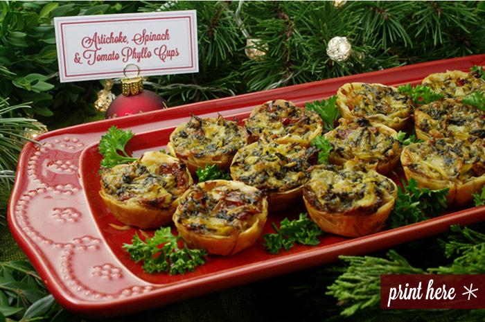 Artichoke, Spinach, and Tomato Phyllo Cups