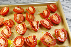 Tomatoes Prepped for Roasting