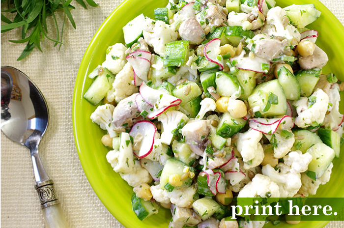 Cauliflower Salad with Yogurt & Chickpeas