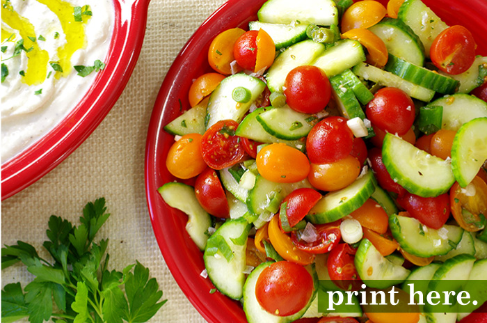 Tomato & Pickled Green Bean Salad with Whipped Feta