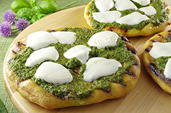 Mozzarella and Chive-Basil Pesto Pizza