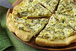 Spinach Artichoke Pizza with Wood Smoke