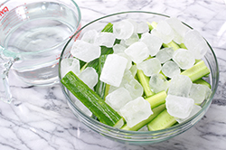 Cucumbers in Brine with Ice