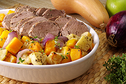 Pork Tenderloin with Squash, Apples & Onion