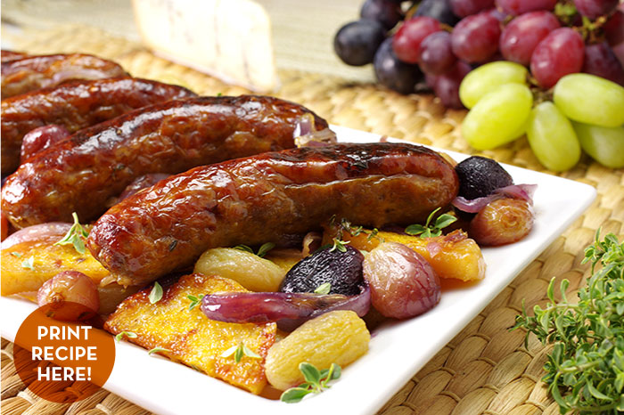 Roasted Sausage & Red Grapes with Polenta & Gorgonzola