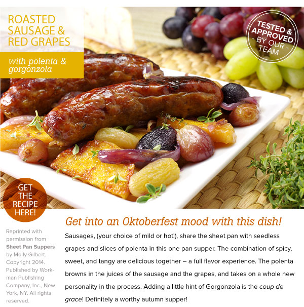 RECIPE: Roasted Sausage and Red Grapes with Polenta and Gorgonzola
