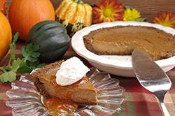 Pumpkin Pie with Gingersnap Crust and Apricot Sauce