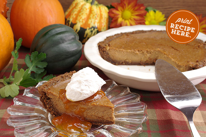 Pumpkin Pie with Gingersnap Crust and Apricot Glaze