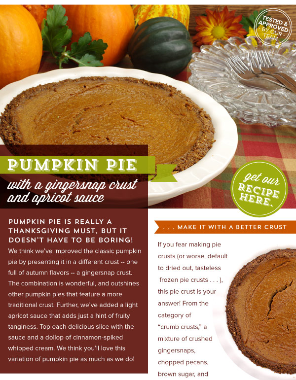 RECIPE: Pumpkin Pie with GIngersnap Crust and Apricot Sauce