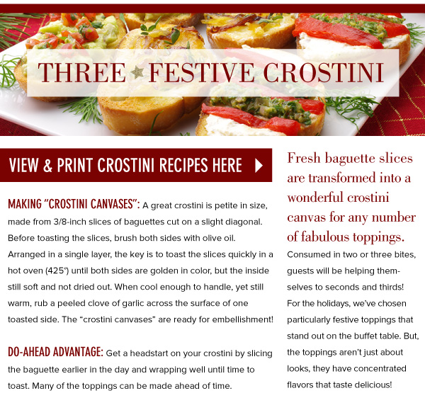 PRINT: Three Festive Crostini Recipes