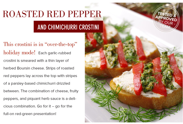 Roasted Red Pepper and Chimichurri Crostini