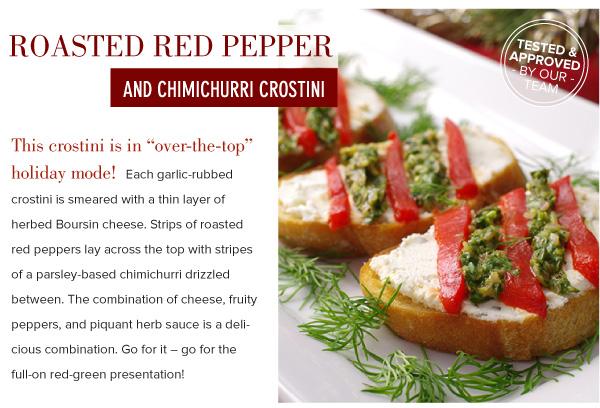 Roasted Red Pepper and Chimichurri Crostini