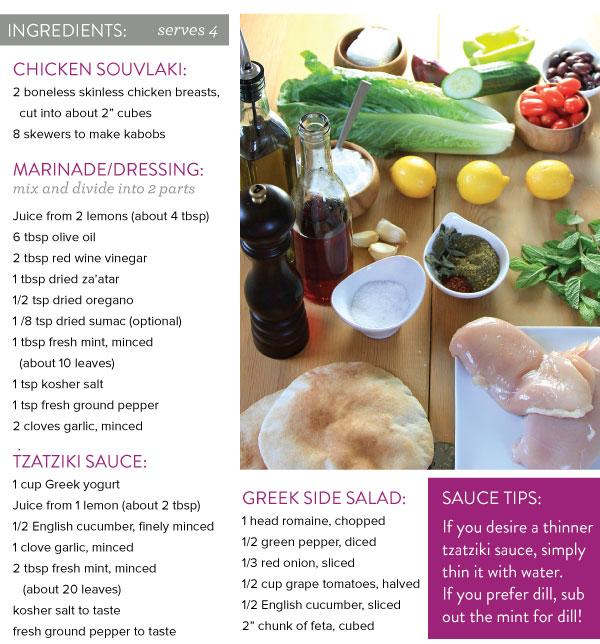 Chicken Souvlaki and Greek Salad with Tzatziki Sauce | Whisk