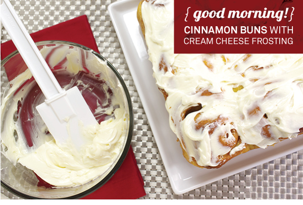 Goodmorning Cinnamon Buns with Cream Cheese Frosting