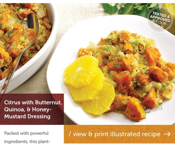 RECIPE: Citrus with Butternut, Qunioa, and Honey Mustard Dressing