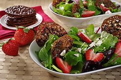 Strawberry Salad with Lacy Nib Cookies