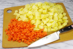 Cubed Potatoes and Diced Carrots
