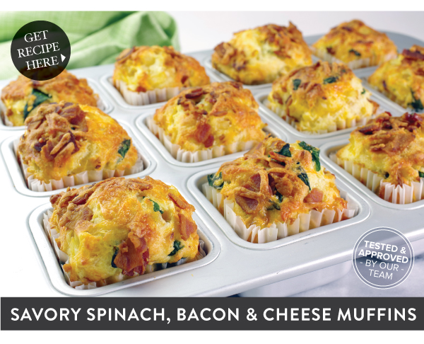 Recipe: Savory Spinach, Bacon and Cheese Muffins