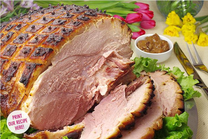 Smoked Ham with a Cherry-Dijon Glaze and Sauce