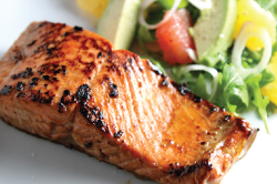 Pan-Seared, Glazed Salmon with Avocado Citrus Side Salad