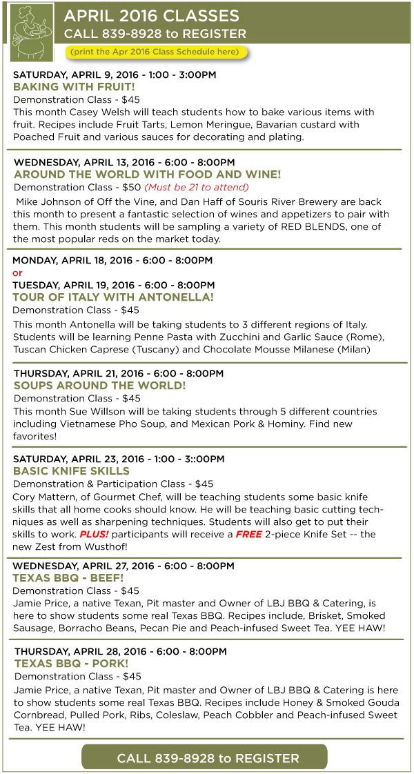April Classes