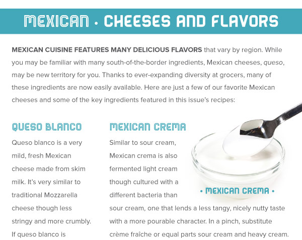 Mexican Cheeses and Other Flavors