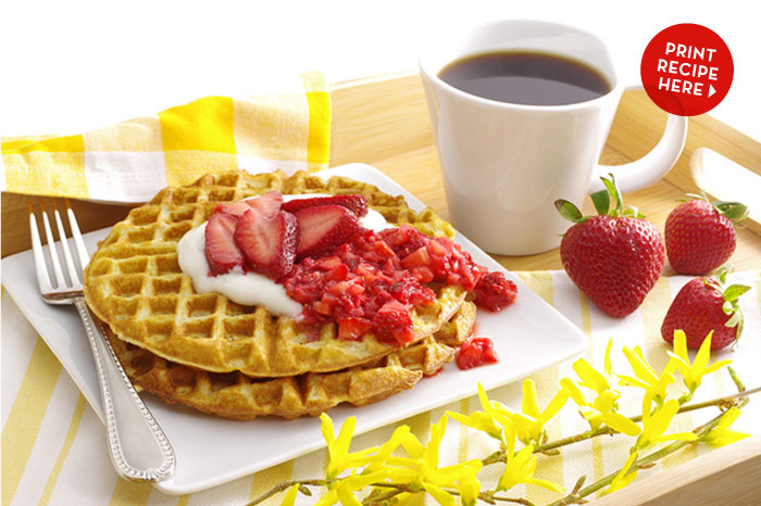 Buttermilk Waffles with Bedazzled Strawberries