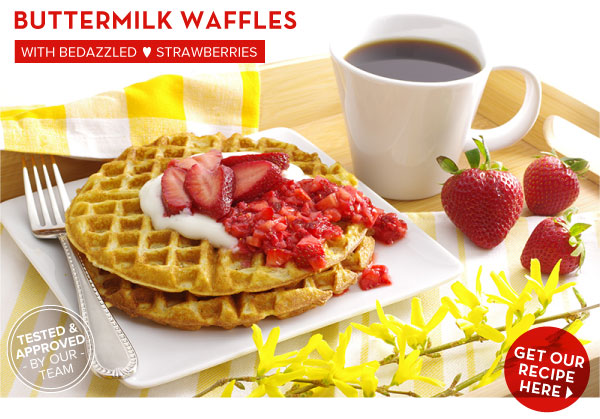 RECIPE: Buttermilk Waffles with Bedazzled Strawberries