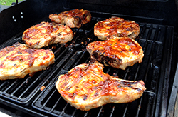 Chops on Grill with Sauce