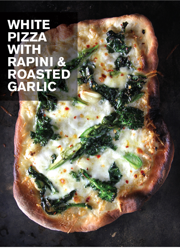 White Pizza with Rapini and Roasted Garlic