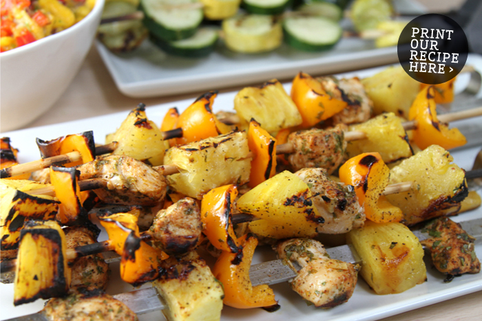 Cilantro-Lime Chicken, Pineapple & Pepper Kabobs