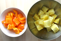 Cut Peppers and Pineapple