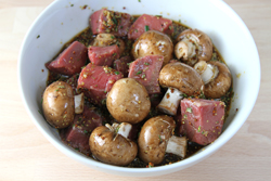 Marinating Steak and Mushrooms