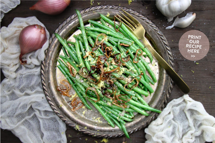 Lemon Haricots Verts with Crispy Shallots