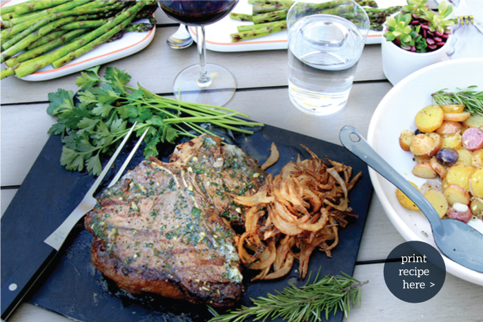 PORTERHOUSE WITH HERBED BUTTER & FRIZZLED ONIONS