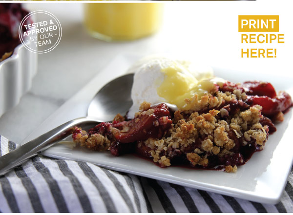 RECIPE: Peach and Blackberry Crisp with Homemade Lemon Curd