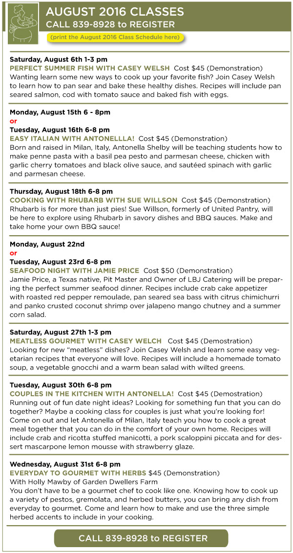 August Classes