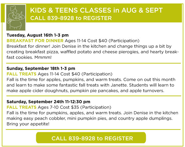 August and September Kids Classes