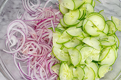 Sliced Onions and Cucumbers