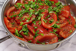 Sauteeing Tomatoes and Basil