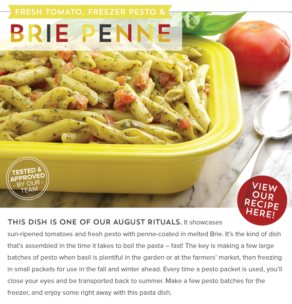 RECIPE: Fresh Tomato, Freezer Pesto and Brie Penne