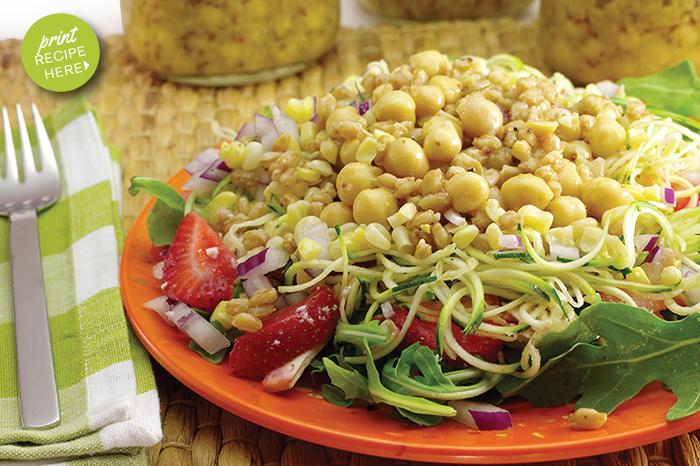 Garden & Grain Salad-in-a-Jar with Lemon Mustard Vinaigrette