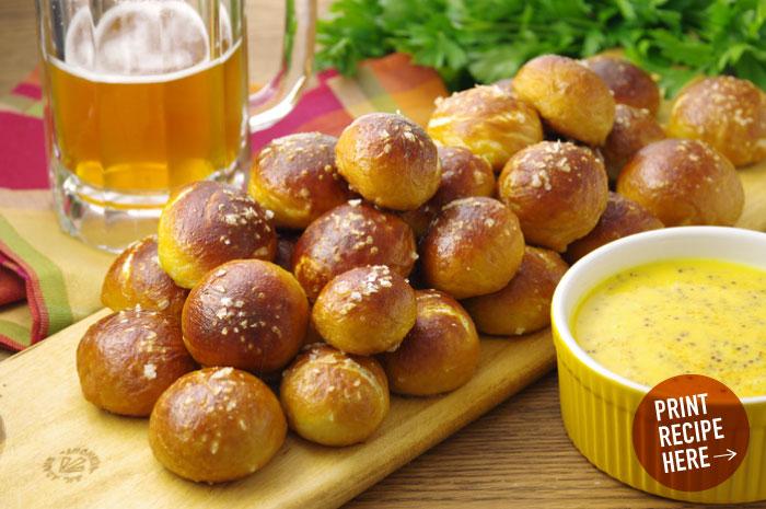 Pretzel Bites with Cheddar-Mustard Dip