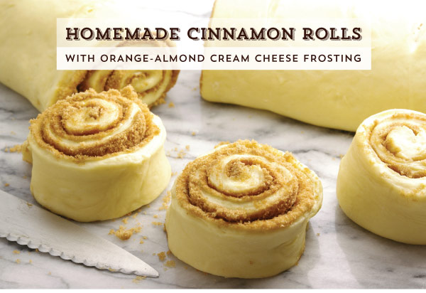 Homemade Cinnamon Rolls with Orange-Almond Cream Cheese Frosting