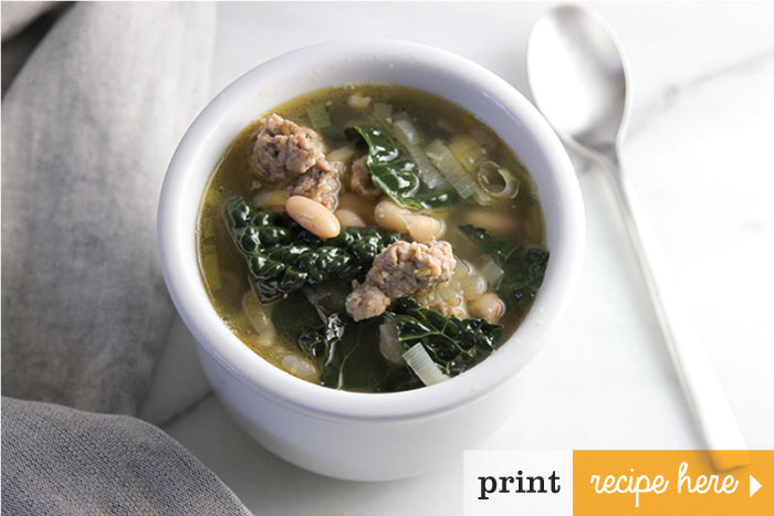 Spicy Italian Sausage, White Bean & Kale Soup