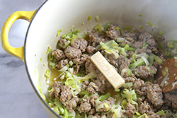 Sauteing Leeks and Sausage