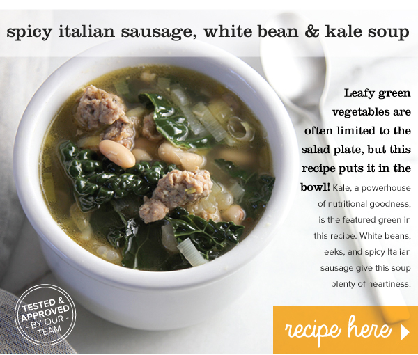 RECIPE: Spicy Italian Sausage, White Bean & Kale Soup