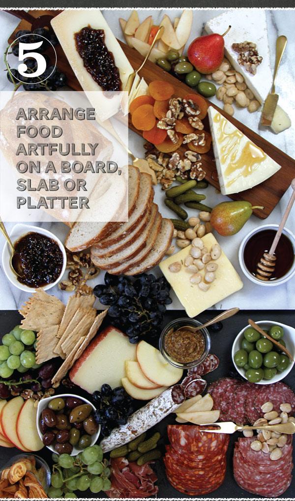 Arrange on a board, slab or platter